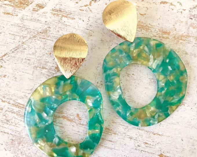 Dangle earrings, Statement earrings, Modern earrings, Big earrings, White earrings, Tortoise shell earrings, Trendy earrings, Gold plated