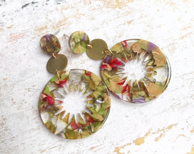 Dangle earrings, Statement earrings, Modern earrings, Big earrings, Colorful jewelry, Tortoise shell earrings, Colorful earrings, Multicolor