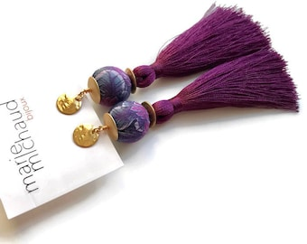 Tassel earrings, Long earrings, Silk earrings, Luxurious earrings, Purple earrings, Statement earrings, Boho chic earrings, Purple jewelry