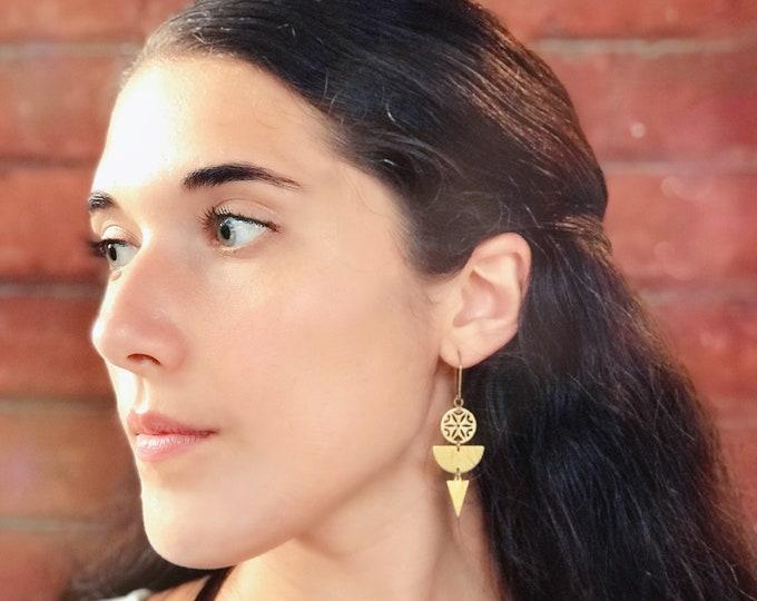 Dangle earrings, Trendy earrings, Modern earrings, Golden jewelry, Boho chic earrings, Brass earrings, Modern jewelry, Holiday gifts