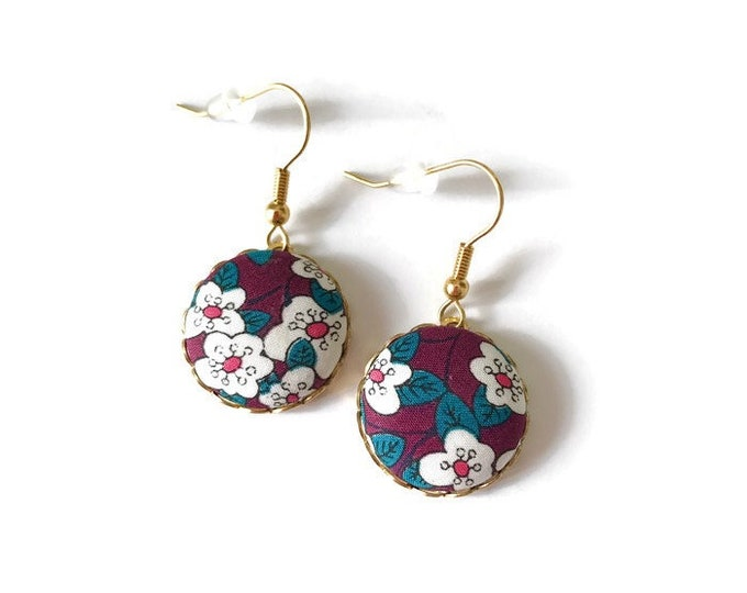 Liberty earrings, Colorful earrings, Romantic earrings, Flower earrings, Liberty jewelry, Purple earrings, Boho earrings, Boho chic
