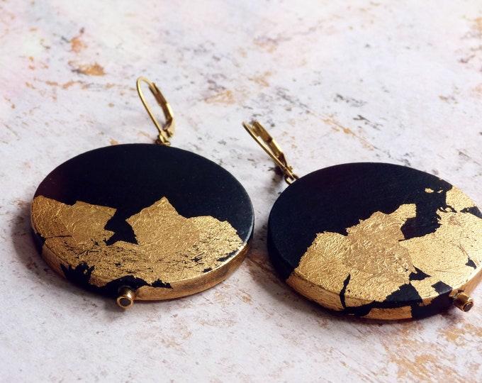 Statement earrings, Painted earrings, Hand painted earrings, Black and gold earrings, Art jewelry, Boho earrings, Light earrings, Boho