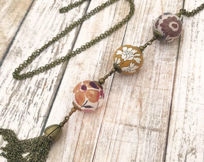 Liberty necklace, Tassel necklace, Long boho necklace, Liberty jewelry, Mustard necklace, Liberty necklace, Free shipping, Boho jewelry