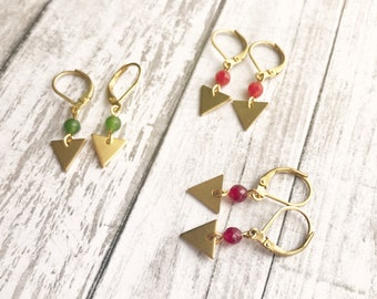 Minimalist earrings, Dainty earrings, Triangle earrings, Cute earrings, Golden earrings, Minimalist jewelry, Dainty jewelry, Dainty