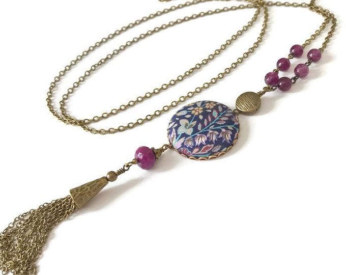 Liberty necklace, Tassel necklace, Long boho necklace, Liberty jewelry, Long tassel necklace, Free shipping Canada, Boho jewelry, Liberty