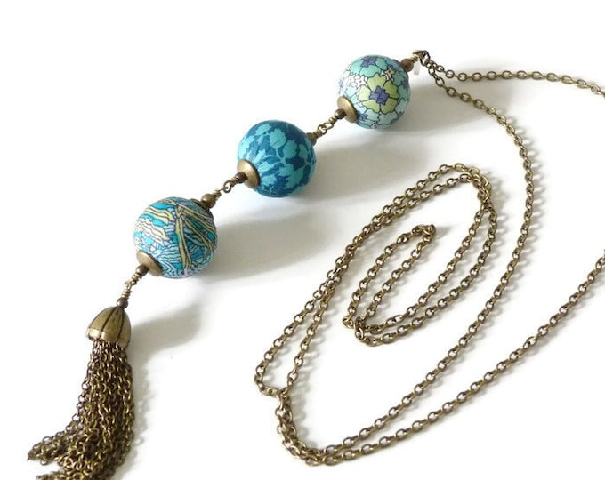Liberty necklace, Tassel necklace, Long boho necklace, Liberty jewelry, Fall jewelry, Liberty necklace, Free shipping, Turquoise necklace