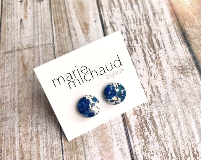 Liberty earrings, Cute earrings, Colorful earrings, Stud earrings, Flower earrings, Liberty jewelry, Blue earrings, Studs, Free shipping
