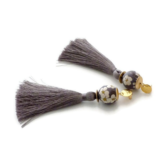 Tassel earrings, Long earrings, Silk earrings, Luxurious earrings, Grey earrings, Statement earrings, Boho chic earrings, Gray earrings