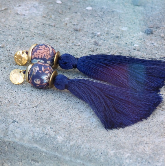 Tassel earrings,Elegant earrings,Long earrings,Silk tassel earrings,Luxurious earrings,Statement earrings,Blue earrings,Boho chic earrings