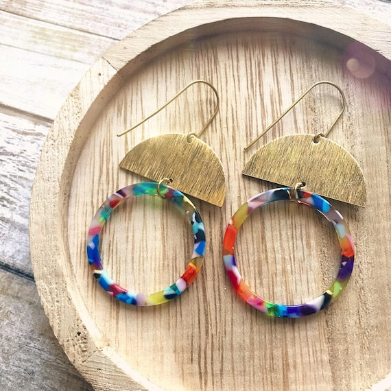 Dangle earrings, Rainbow earrings, Modern earrings, Big earrings, Colorful earrings, Rainbow jewelry, Multicolor earrings, Loop earrings