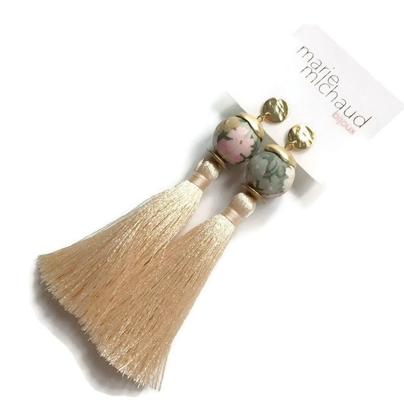 Tassel earrings, Long earrings, Silk tassel earrings, Luxurious earrings, Statement earrings, Boho chic earrings, Jewelry on sale, On sale
