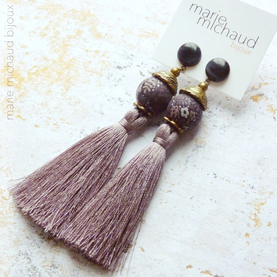 Tassel earrings,Grey earrings,Long earrings,Silk tassel earrings,Luxurious earrings,Statement earrings,Tassel jewelry,Boho chic earrings