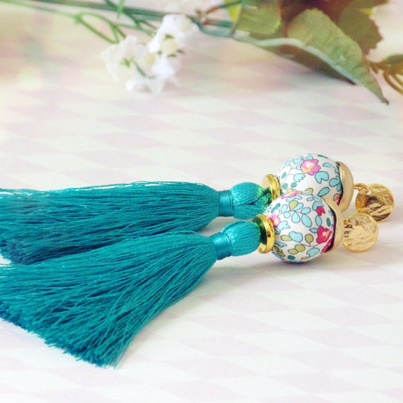 Tassel earrings, Long earrings, Silk tassel earrings, Luxurious earrings, Statement earrings, Boho chic earrings, Summer earrings, Spring