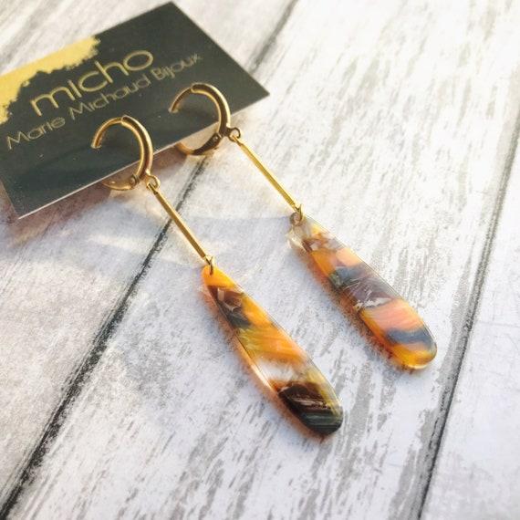 Acrylic dangle earrings, Modern earrings, Long earrings, Drop earrings, Tortoise shell earrings, Acrylic earrings, Tear drop earrings