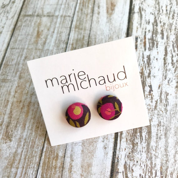 Liberty earrings, Cute earrings, Colorful earrings, Stud earrings, Flower earrings, Liberty jewelry, Fabric earrings, Studs, Free shipping