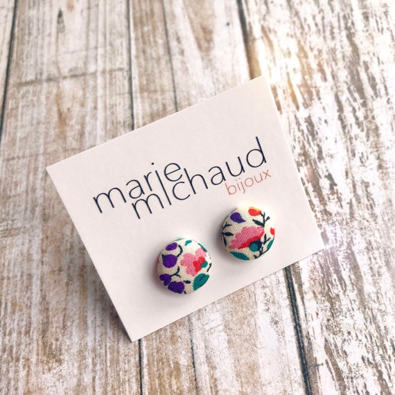 Liberty earrings, Cute earrings, Colorful earrings, Stud earrings, Flower earrings, Liberty jewelry, Tiny earrings, Studs, Free shipping