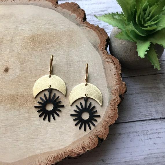 Moon earrings, Tribal earrings, Star dangle earrings, Moon shape jewelry, Moon and star earrings, Star earrings, Moon and star jewlery,