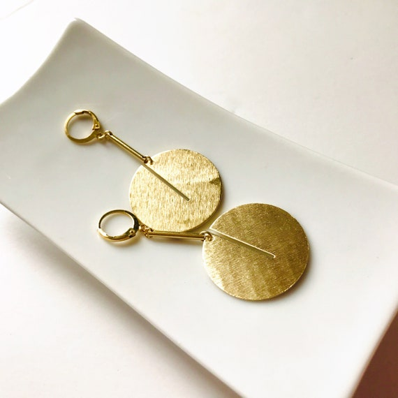 Dangle earrings, Trendy earrings, Modern earrings, Golden jewelry, Geometric earrings, Brass earrings, Modern jewelry, Minimalist earrings