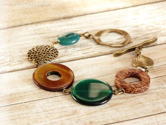 Big boho bracelet,Boho bracelet,Green bracelet,Original bracelet,Boho jewelry,Statement bracelet,Winter bracelet,Green and brown bracelet