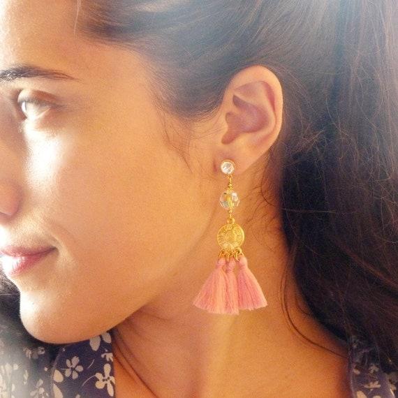 Tassel earrings, Elegant earrings, Long earrings, Tassel jewelry, Luxurious earrings, Statement earrings, Special occasion jewelry, Earrings