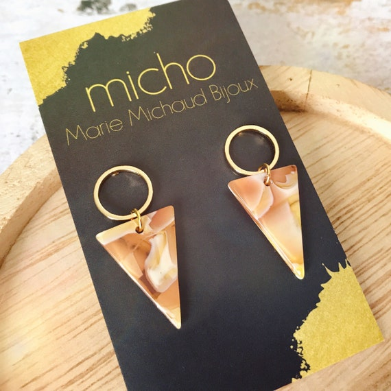 Dangle earrings, Delicate earrings, Modern earrings, Triangle earrings, Geometric earrings, Yellow earrings, Orange earrings, Tortoise shell
