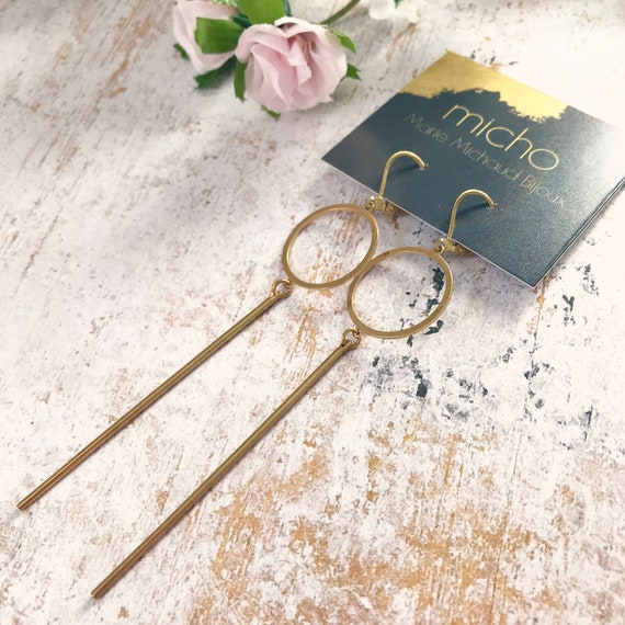 Dangle earrings, Trendy earrings, Minimalist earrings, Golden jewelry, Minimalist jewelry, Brass earrings, Modern jewelry, Minimalist