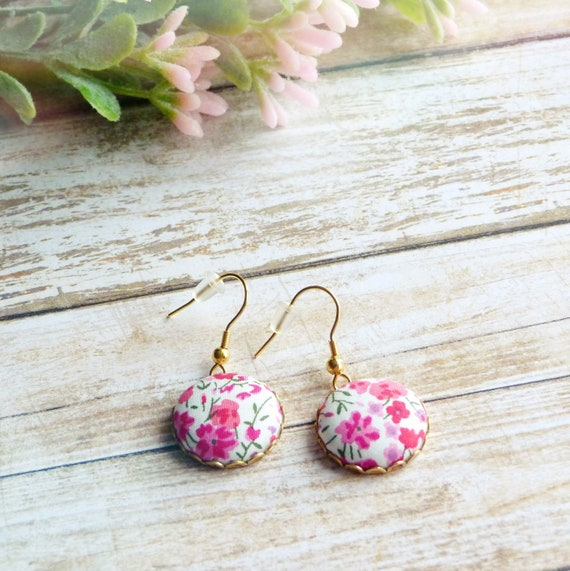 Liberty earrings, Colorful earrings, Pink earrings, Flower earrings, Liberty jewelry, Summer trends, Gift under 30, Stainless steel