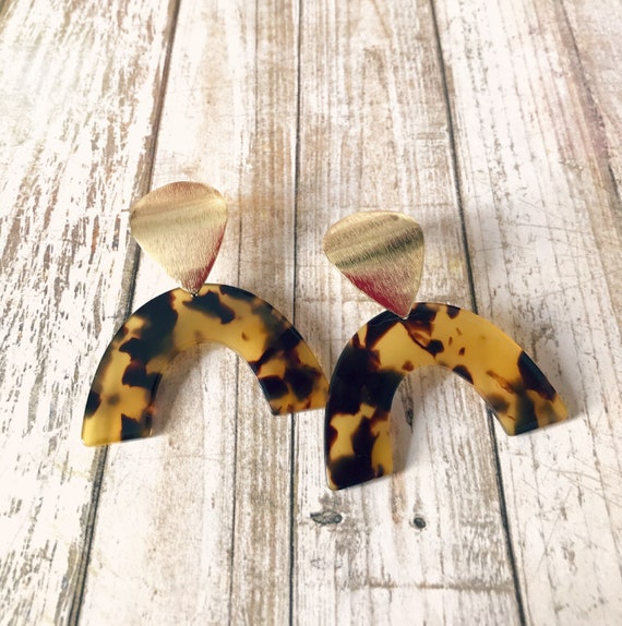 Dangle earrings, Statement earrings, Modern earrings, Big earrings, Modern jewelry, Tortoise shell earrings, Trendy earrings, Gold plated