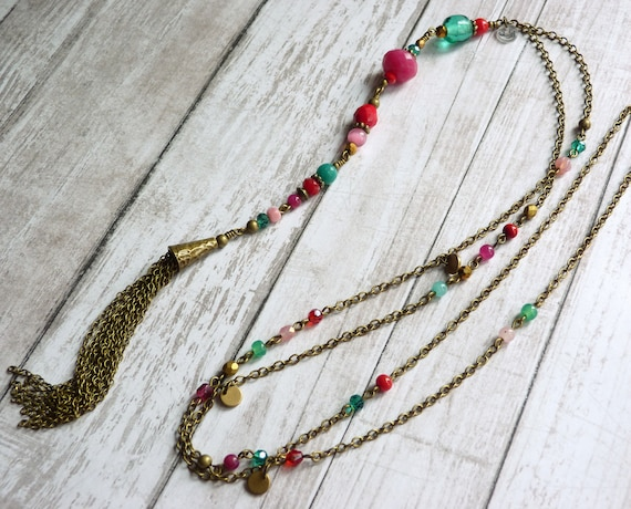 Colorful tassel necklace, Long tassel necklace, Boho necklace, Boho style jewelry, Colorful boho necklace, Bohemian necklace,