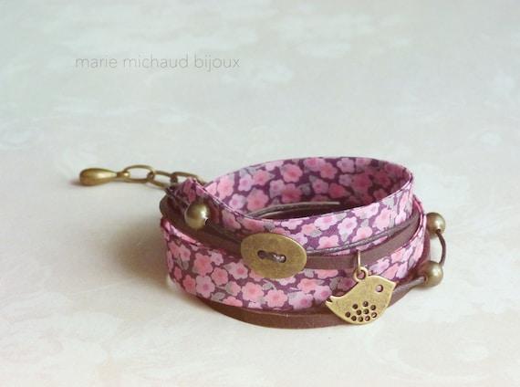 Liberty bracelet,Wrap bracelet,Double wrap bracelet,Textile bracelet,Cuff bracelet,Liberty jewelry,Pink bracelet,Small gift for her,