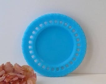 Blue Milk Glass Plate Dithridge Co Fort Pitt Glass Works 208 Vintage Aqua Turquoise by VintageReinvented