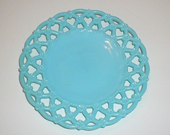 Blue Milk Glass Round Plate Lattice Flowers Rim Vintage Plate  by VintageReinvented