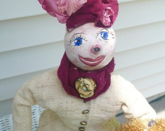 Handmade Doll Snow Woman Christmas Handmade Vintage Inspired  Doll by VintageReinvented