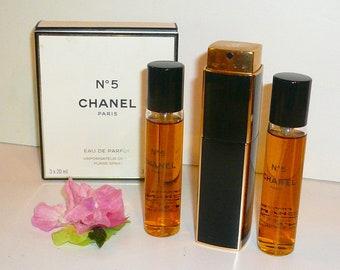 Vintage Chanel no. 5 Perfume Eau De Parfum Atomizer Purse Two Refills by VintageReinvented