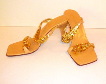 Women's Sandal Jewel Gold Amber Rhinestone Slides Size 6 1/2  Giuseppe Zanotti Vintage by VintageReinvented