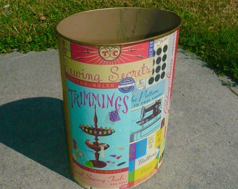 Vintage Wastebasket Handmade Decoupage Sewing Room Trash Can Home Decor by VintageReinvented