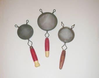 Vintage Wire Mesh Strainers Set of Three Wood Handled Tea Strainers by VintageReinvented Free Shipping