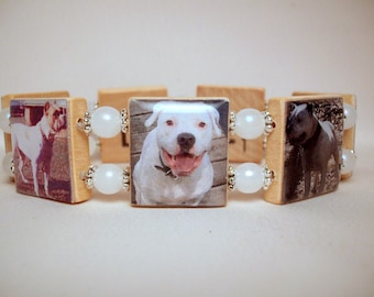 AMERICAN BULLDOG Bracelet / Upcycled Jewelry / Scrabble Art