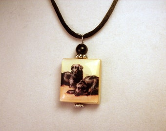 FLAT COATED RETRIEVER Jewelry / Scrabble Pendant / Handmade Unusual Gifts / Necklace with Cord