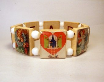 VALENTINE Jewelry / Scrabble Like Red Game Piece Bracelet / Vintage Valentine Cards / HEART DAY / Unusual Gifts