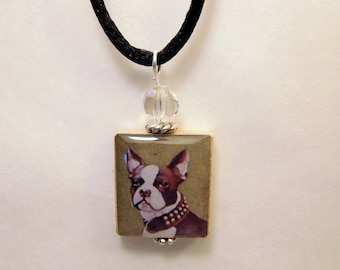BOSTON TERRIER Necklace / Beaded SCRABBLE Pendant with Satin Cord / Charm / Jewelry