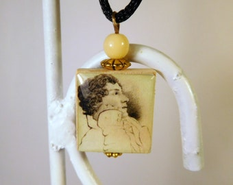 JOHN KEATS Pendant with Satin Cord / Beaded Scrabble Jewelry / Charm / Book Lover Gift / Poetry
