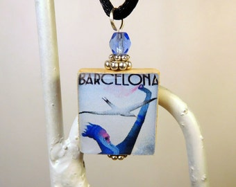 BARCELONA Spain Necklace / Beaded Scrabble Pendant WITH Satin Cord / Travel