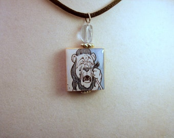 WIZARD of OZ Jewelry / Cowardly Lion Scrabble Pendant / Charm / Necklace with Cord / Upcycled - Repurposed