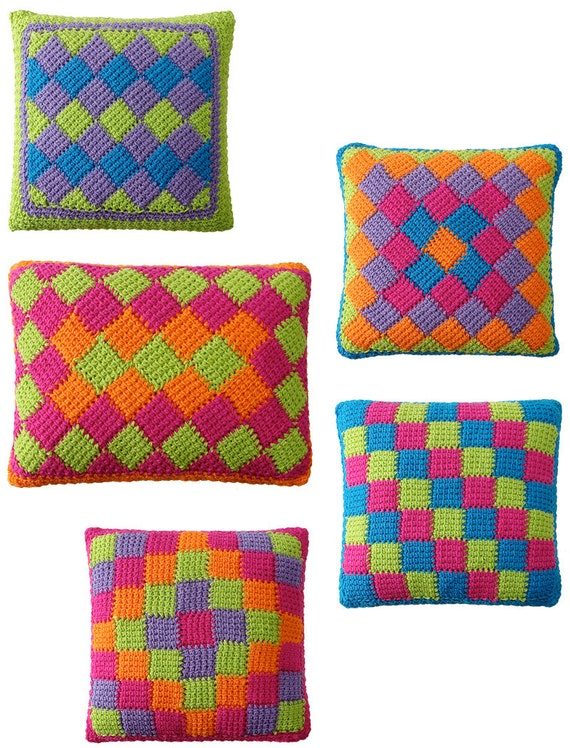 Easy Entrelac Tunisian Crochet Pillows Pdf Pattern Etsy