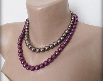 Wedding pearl necklace, Wedding  Bold Bridal, eggplant color- anthracite  pearl Jewelry, Bridesmaids, Bridal Jewelry