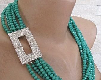 Crystal necklace, crystal bib necklace, multi-layer green crystal necklace, special occasion Bold Chunky Statement Crystal Bib Necklace