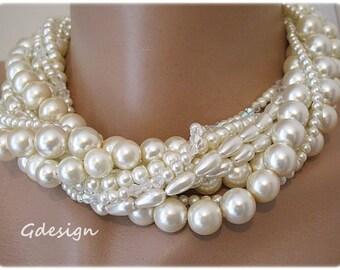 Bold Bridal Wedding Necklace , Handmade Necklace, Chunky Layered  Pearl Necklace, Swarovski Crystal , Layered Pearl Necklace