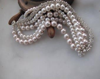 Chunky layered Wedding bridal bracelet,  powder pink glass pearl bracelet, rhinestone cylinder chain,