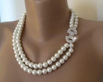 Wedding ivory pearl necklace, 2 strands,rhinestone closure,brides and bridesmaids,bridal